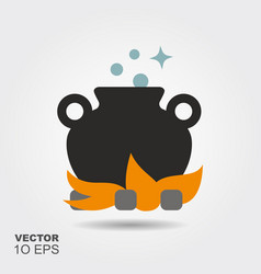 cauldron with a magic potion flat silhouette icon vector image