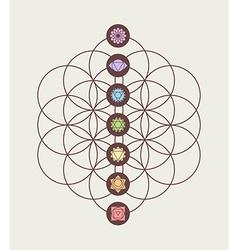 chakra icons on flower life modern design vector image