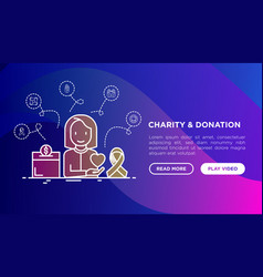 charity and donation woman with heart in hand vector image