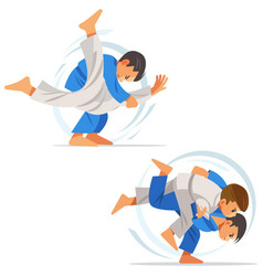 Children are doing high throws judo in judogi vector