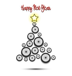 christmas tree from bicycle wheel vector image