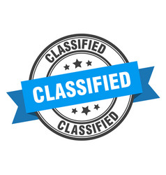 Classified label classified blue band sign vector