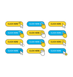 click here buttons web ui navigation elements vector image