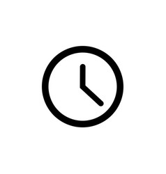 clock line icon in flat style clock symbol vector image