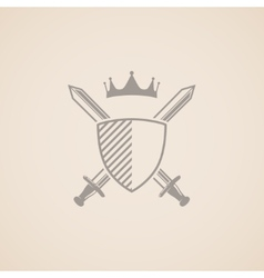 Coat of arms with shield swords and crown vector