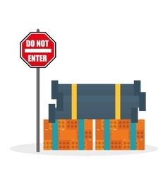 Construction design stop sign icon repair vector