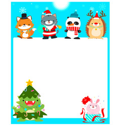 cute animal christmas character background vector image