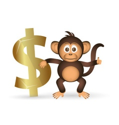 Cute chimpanzee little monkey and dollar symbol vector