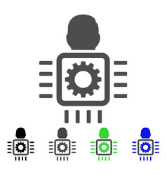 Cyborg processor flat icon vector