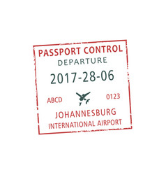 Departure visa stamp from johanesburg airport vector