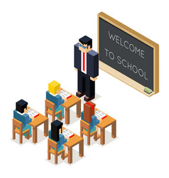 Education lesson lowpoly 3d isometric classroom vector