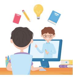 Education online student boy video teaching vector