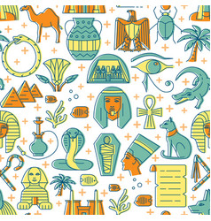 egypt seamless pattern in colored line style vector image