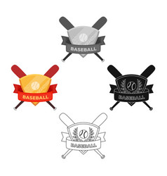 emblem baseball single icon in cartoonblack vector image