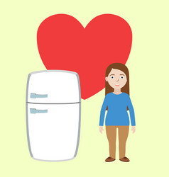 fat girl with fridge in love vector image