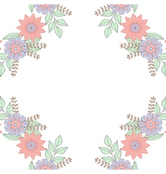 Floral doodles wreath frame in entangle style vector
