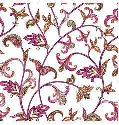 floral seamless pattern oriental leaves background vector image