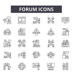 Forum line icons signs set outline vector