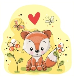 Fox with flowers and butterflies vector image