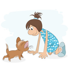 girl playing with cat vector image