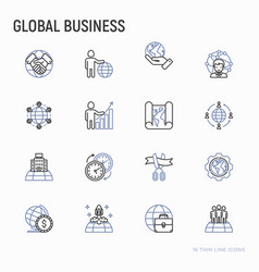 global business thin line icons set vector image