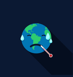 Global warming concept earth with thermometer vector