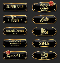 Gold and black metal plates collection on black vector
