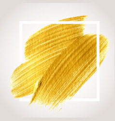 Gold hand drawn paint brush stroke vector