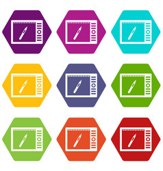 graphics tablet icon set color hexahedron vector image