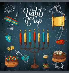 hand drawn traditional chanukah symbols in sketch vector image