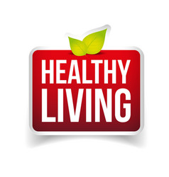 Healthy Living button red vector image
