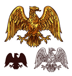 heraldic golden egale with wings sketch vector image