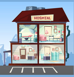 hospital medical clinic rooms interior hallway vector image