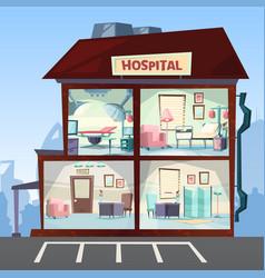 Hospital medical clinic rooms interior hallway vector