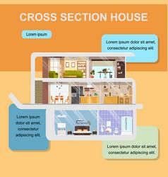 House cross section interior web banner vector