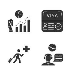 Immigration glyph icons set migration rate visa vector