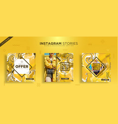 Instagram post template with abstract marble vector