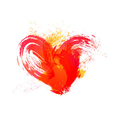 Isolated watercolor red heart with effects on vector