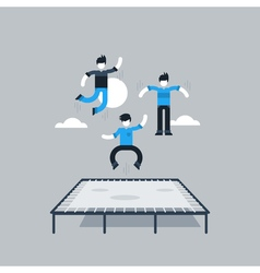 Jumping kids on trampoline vector
