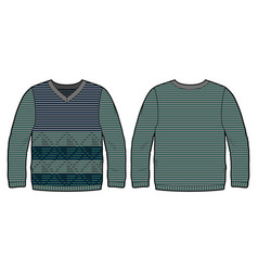 Knitted pullover with pattern vector