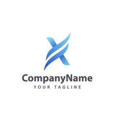 letter x wave logo design template vector image