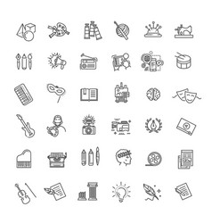 line arts icons set linear icons vector image