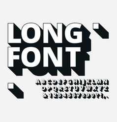 Long shadow font retro boldness 3d alphabet old vector
