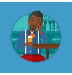 Man drinking orange cocktail at the bar vector