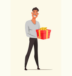 Man holding red gift box color vector