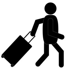 Man with luggage icon on white background vector