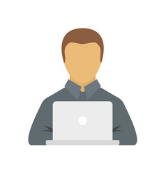 Manager works on laptop icon flat style vector