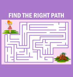 Maze game finds the fairy way to the home vector