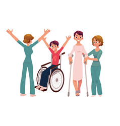 medical rehabilitation crunches and wheelchair vector image