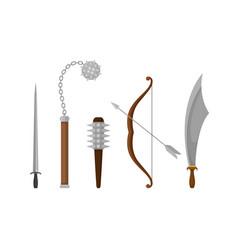 Medieval weapons set ancient metal swords vector